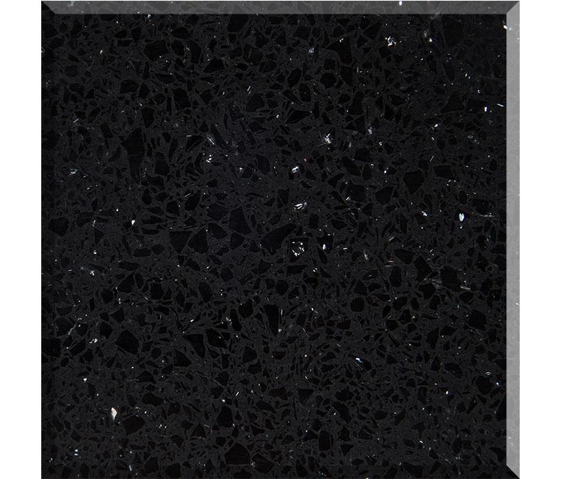Factory Sparkling Black Quartz  Stone Slabs